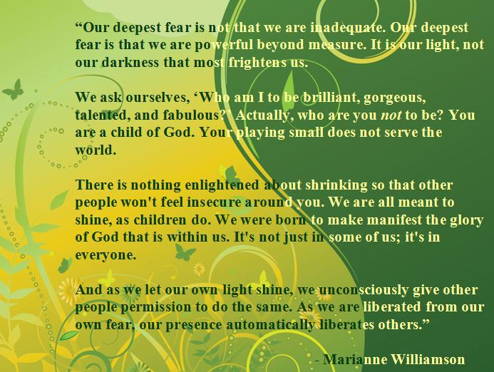 A Return To Love Quotes Interesting Marianne Williamson On Why We Should Shine » A Cup Of Green